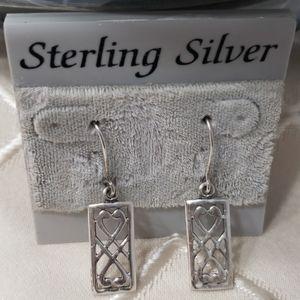 Vintage Sterling Silver Heart ❤ Earrings